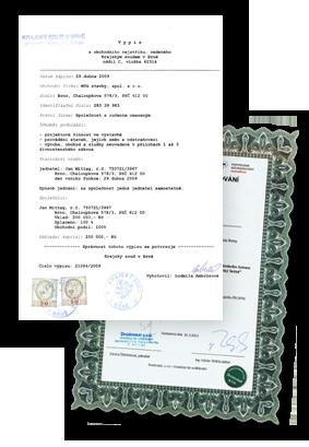 Certifikace společnosti MTG Stavby